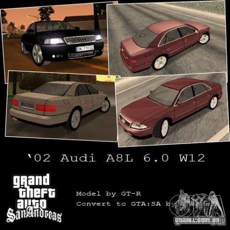 Audi A8 Long 6.0 W12 2002 para GTA San Andreas