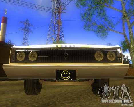Dodge Coronet 1967 para GTA San Andreas vista traseira