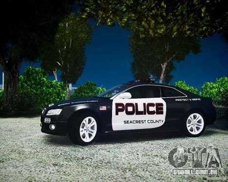 Audi S5 Police para GTA 4 traseira esquerda vista