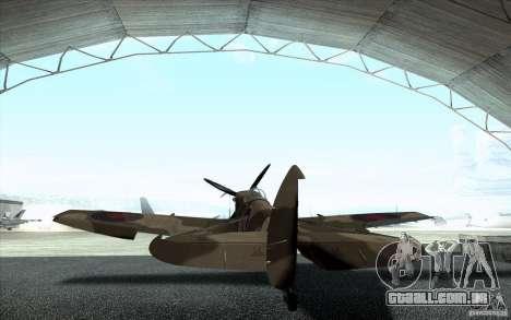 Spitfire para GTA San Andreas traseira esquerda vista