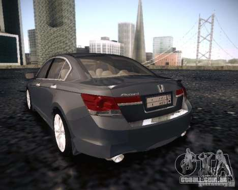 Honda Accord 2011 para GTA San Andreas esquerda vista