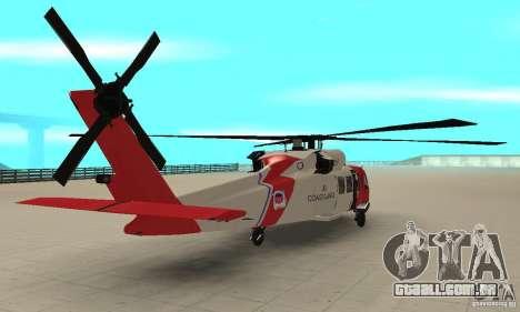 HH-60 Jayhawk USCG para GTA San Andreas esquerda vista