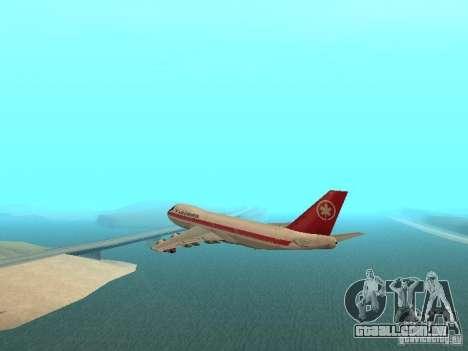 Boeing 747 Air Canada para GTA San Andreas esquerda vista