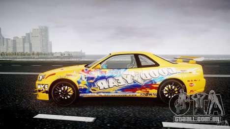 Nissan Skyline R34 GT-R Tezuka Goodyear D1 Drift para GTA 4 esquerda vista