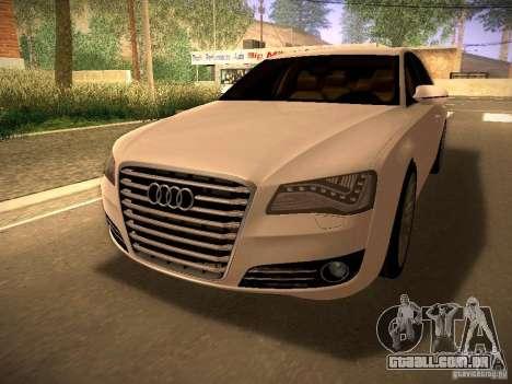 Audi A8 2010 para GTA San Andreas traseira esquerda vista