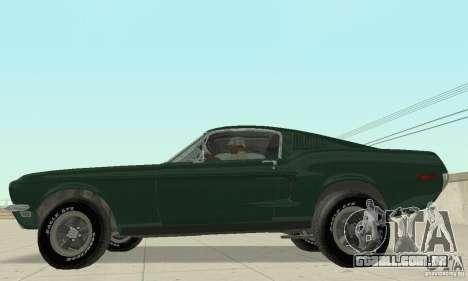 Ford Mustang Bullitt 1968 v.2 para GTA San Andreas traseira esquerda vista