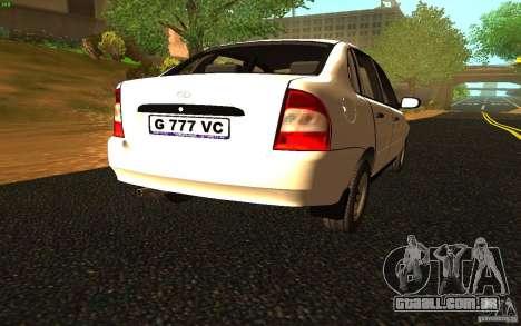 Lada Kalina Stock para GTA San Andreas traseira esquerda vista