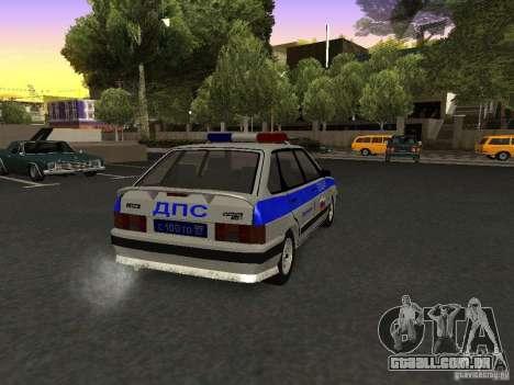 ВАЗ 2114 polícia para GTA San Andreas traseira esquerda vista