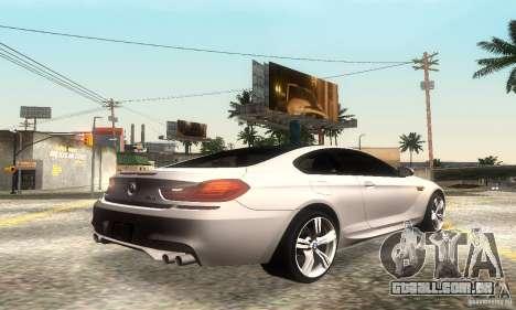 BMW M6 Coupe 2013 para GTA San Andreas vista traseira