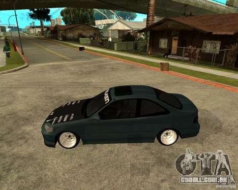 Honda Civic Coupe V-Tech para GTA San Andreas esquerda vista