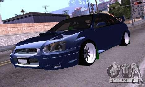 Subaru Impresa WRX light tuning para GTA San Andreas traseira esquerda vista