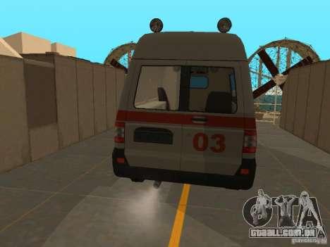 UAZ Simba SC ambulância para GTA San Andreas traseira esquerda vista