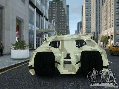 HQ Batman Tumbler para GTA 4 vista de volta