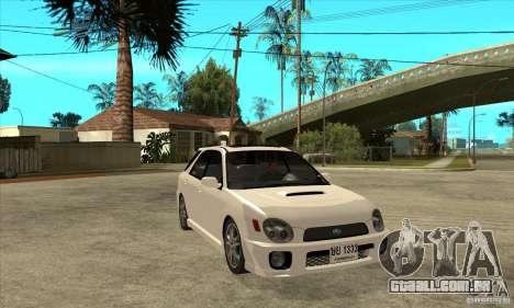 Subaru Impreza WRX Wagon 2002 para GTA San Andreas vista traseira