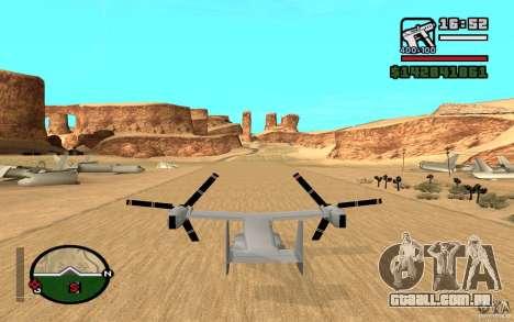 Bell V-22 Osprey para GTA San Andreas traseira esquerda vista
