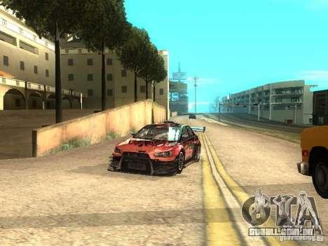 Mitsubishi Lancer Evo X Trailblazer Dirt2 para GTA San Andreas vista traseira