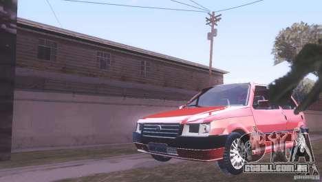 Fiat Uno Mile Fire Original para GTA San Andreas traseira esquerda vista