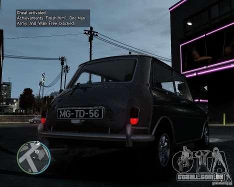 Austin Mini Cooper S para GTA 4 traseira esquerda vista