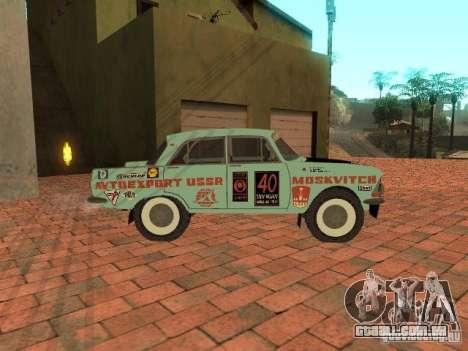 Versão de Rally Moskvich 412 para GTA San Andreas traseira esquerda vista