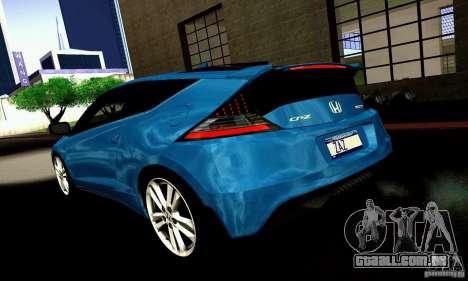 Honda CR-Z 2010 V2.0 para GTA San Andreas vista traseira