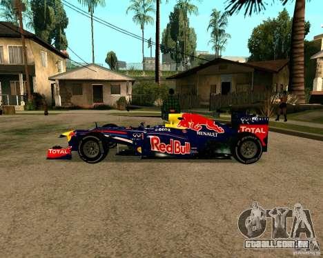 Red Bull RB8 F1 2012 para GTA San Andreas esquerda vista
