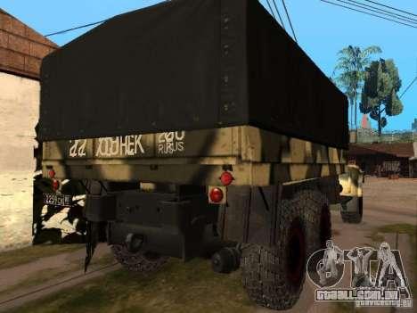 KrAZ 255 B1 v 2.0 para GTA San Andreas vista traseira