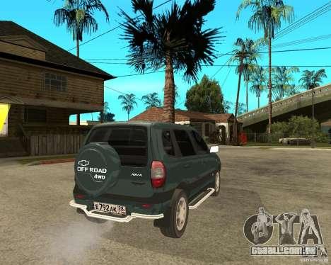 NIVA Chevrolet para GTA San Andreas traseira esquerda vista