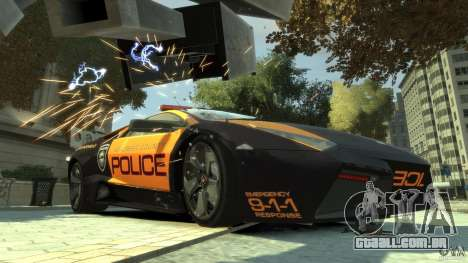 Lamborghini Reventon Police Hot Pursuit para GTA 4 esquerda vista