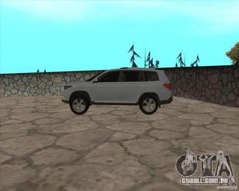 Toyota Highlander para GTA San Andreas esquerda vista