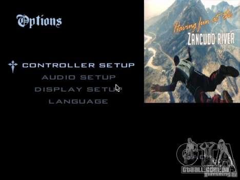 O menu principal no estilo de GTA 5 para GTA San Andreas segunda tela