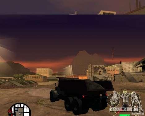 Caminhão de descarga KrAZ-256 para GTA San Andreas traseira esquerda vista