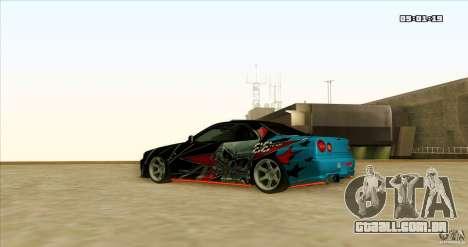 Nissan Skyline R34 Evil Empire para GTA San Andreas vista traseira