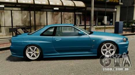 Nissan Skyline R34 2002 v1.1 para GTA 4 esquerda vista