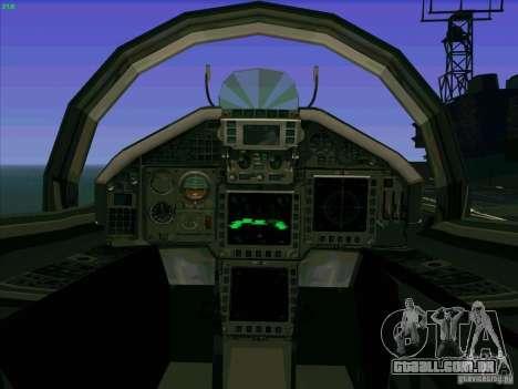 Eurofighter-2000 Typhoon para GTA San Andreas vista interior