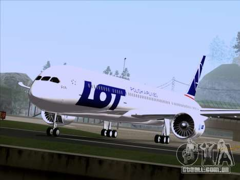 Boeing 787-9 LOT Polish Airlines para GTA San Andreas traseira esquerda vista