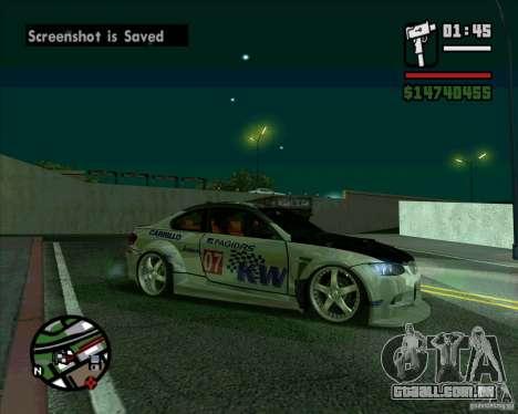 Bmw M3 2008 E92 para GTA San Andreas traseira esquerda vista