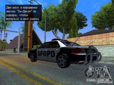 San-Fierro Sultan Copcar para GTA San Andreas traseira esquerda vista