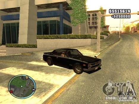 Nissan Skyline 2000 GT-R para GTA San Andreas traseira esquerda vista