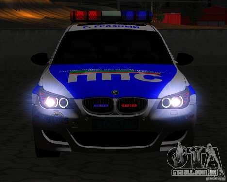 BMW M5 E60 polícia para vista lateral GTA San Andreas