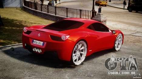 Ferrari 458 Italia Dub Edition para GTA 4 traseira esquerda vista