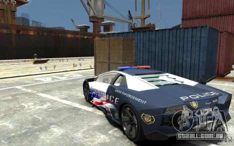 Lamborghini Reventon Police Stinger Version para GTA 4 traseira esquerda vista