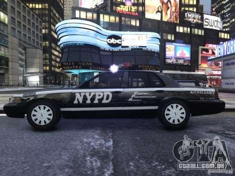 Ford Crown Victoria NYPD Auxiliary para GTA 4 vista de volta