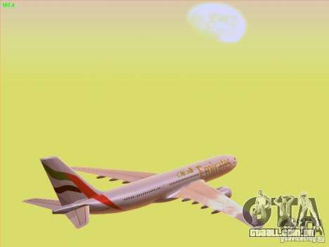 Airbus A330-200 Emirates para GTA San Andreas vista superior