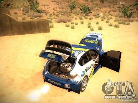 Subaru impreza Tarmac Rally para GTA San Andreas vista superior