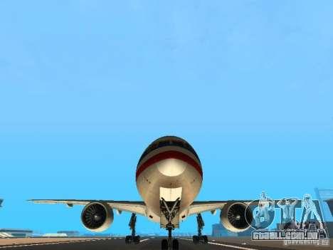 Boeing 777-200 American Airlines para vista lateral GTA San Andreas