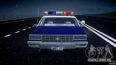Chevrolet Impala Police 1983 para GTA 4 vista inferior