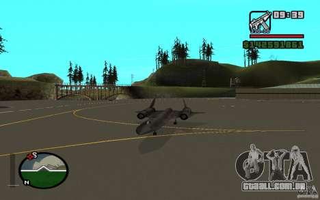 SR-71 Blackbird para GTA San Andreas vista direita