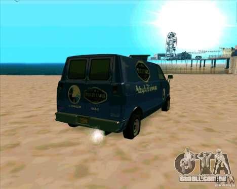 BUGSTARS Burrito from GTA IV para GTA San Andreas traseira esquerda vista