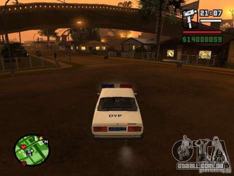 DYP 2107 police para GTA San Andreas traseira esquerda vista