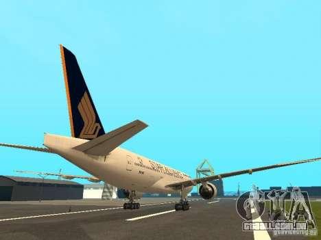 Boeing 777-200 Singapore Airlines para GTA San Andreas vista direita